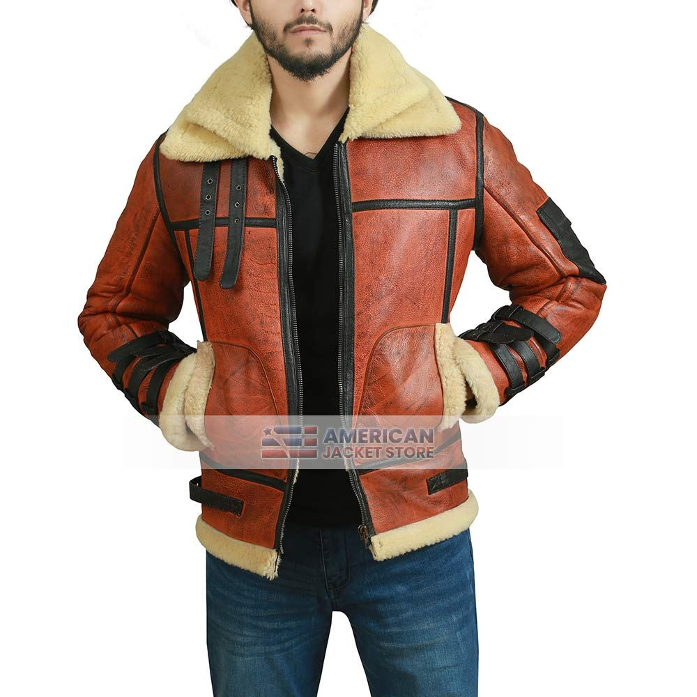 Mens B3 Aviator Brown Leather Jacket